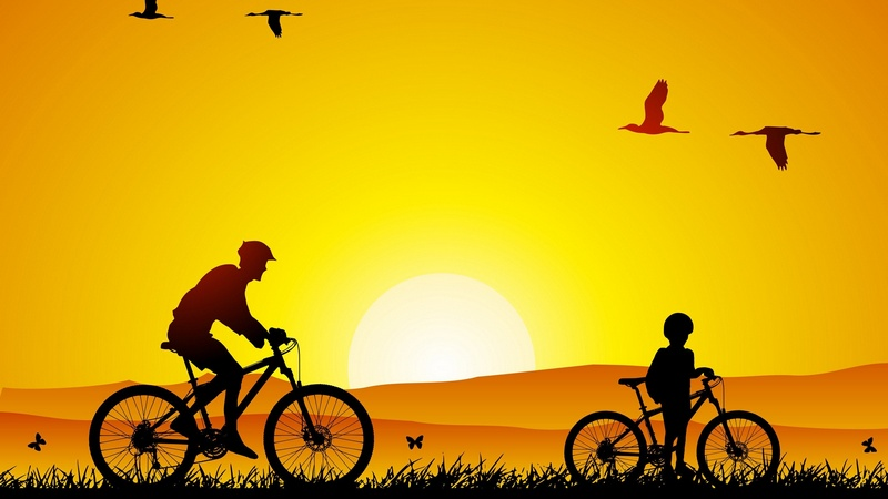 Cycling Sunrise Art 2560x1440