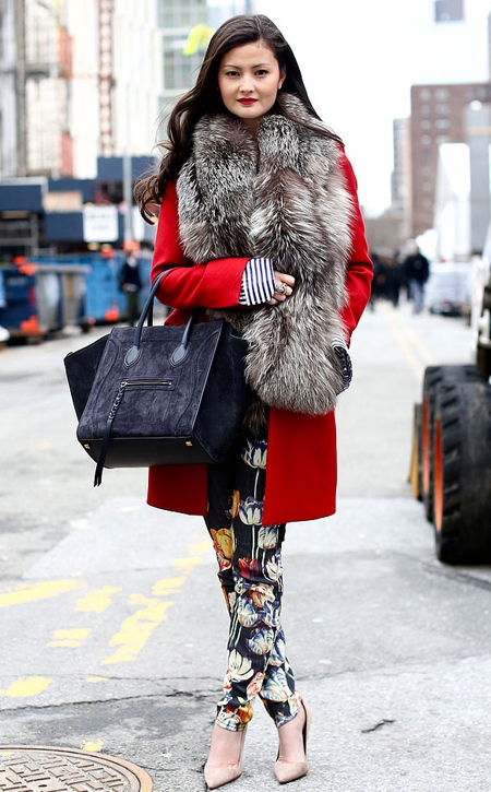 Peony-Lim-NYFW-FW13-red-coat-Mother-Jeans-Celine
