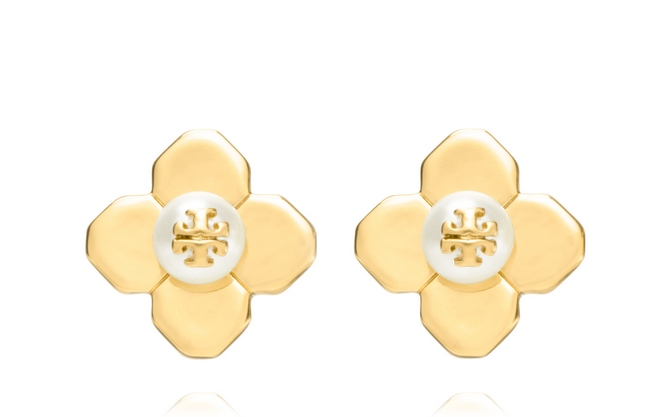 TB Babylon Stud Earring in Ivory and Shiny Gold cr