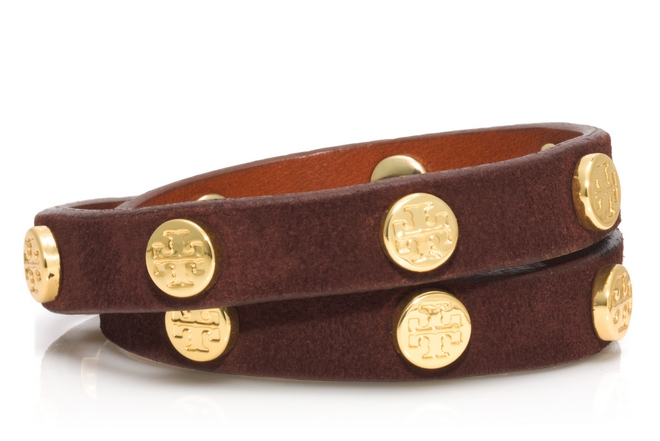 TB Double Wrap Logo Stud Bracelet in Chocolate-Shiny GOld cr