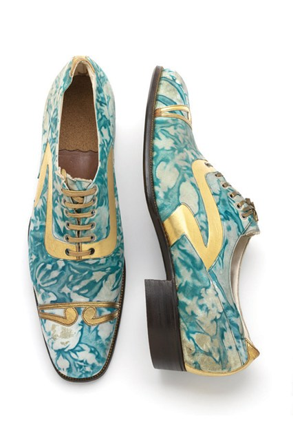 Marbled and gilded leather mens shoes 1925