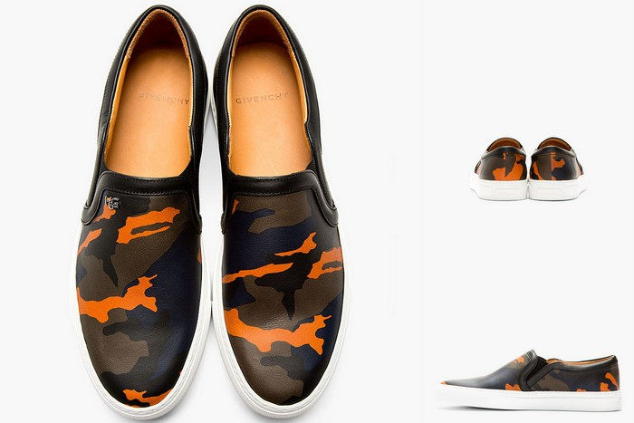 Givenchy-Black-Navy-Leather-Camo-Slip-on-Shoes-