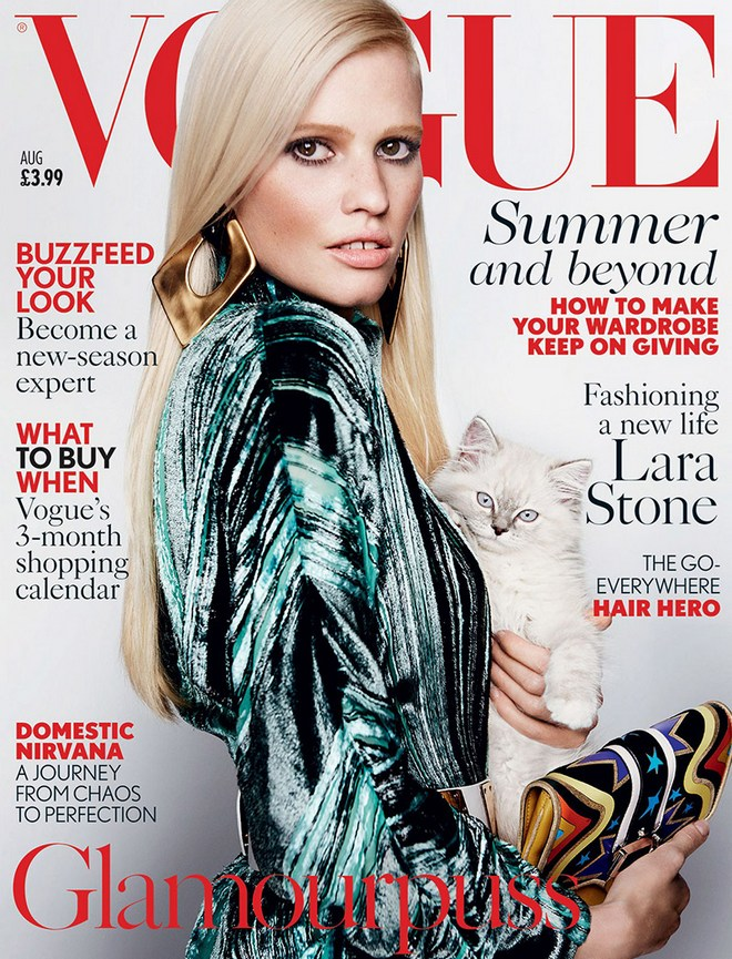 Lara-Stone-Cat-Vogue-UK-Cover