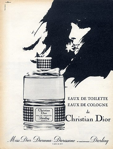 Dior Diorling and other Dior fragrances vintage 1955 ad hprints.com