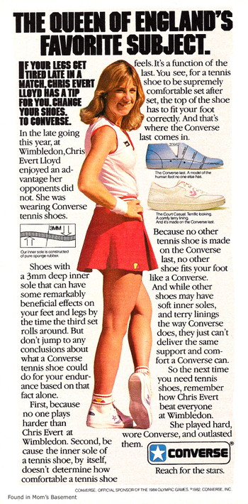 1982 Converse ad featuring Chris Evert