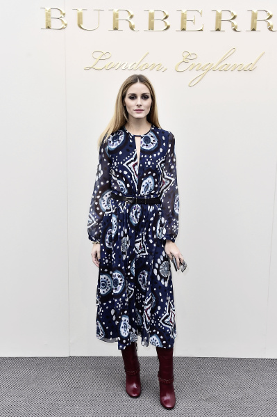 Olivia Palermo wearing Burberry at the Burberry Womenswear February 2016 Show