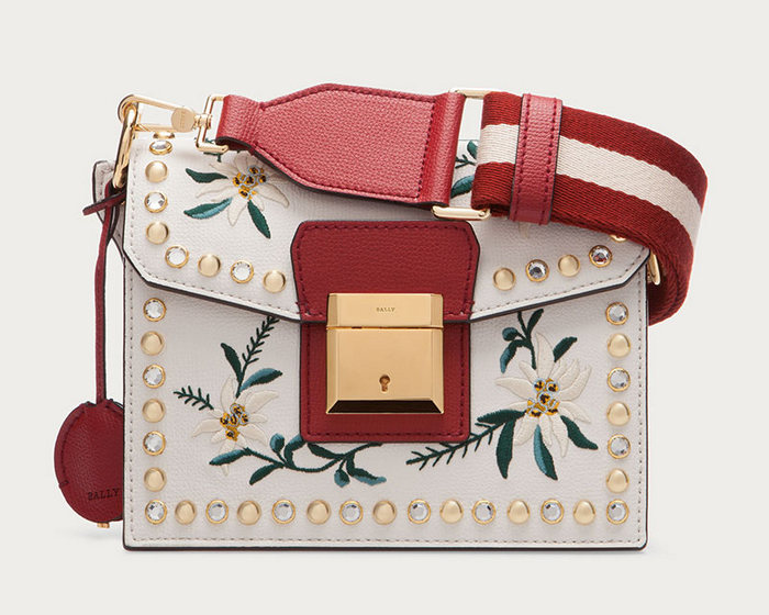 Bally Grimoire Small Embroidered Leather Shoulder Bag