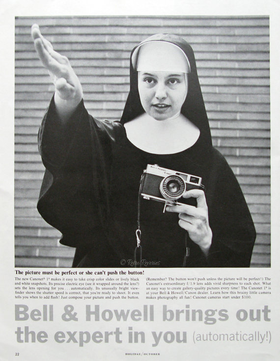 1963 Bell  Howell Canonet 19 Camera Ad - Vintage Canon Camera Ad - 1960s Catholic