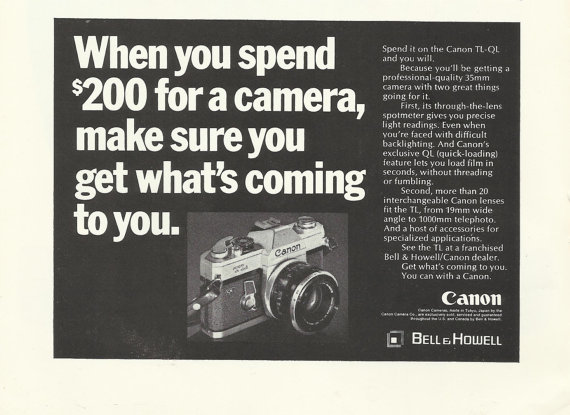 Bell  Howell Canon Tl-QL Camera 35mm Original 1969 Vintage Print Ad Black and