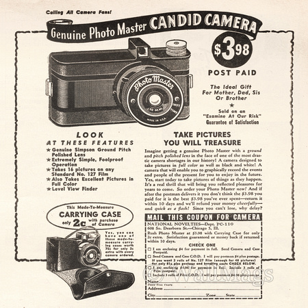 Photo Master Candid Camera Ad From 1945