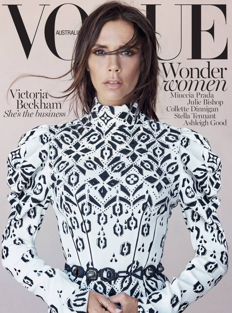 victoria beckham in louis vuitton by patrick demarchelier for vogue australia august 2015