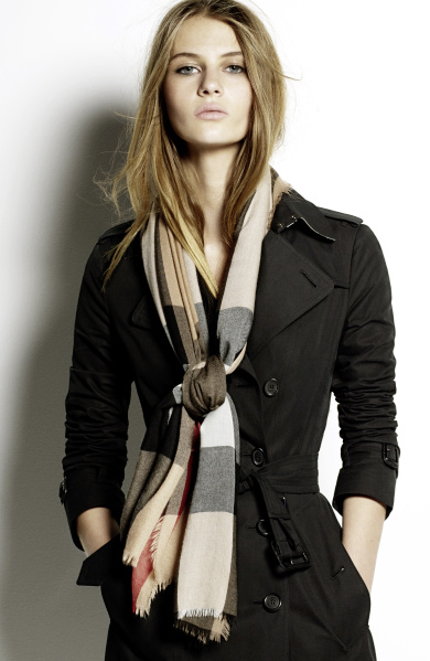 Burberry Scarf Styling - The Low Bow featuring Florence Kosky