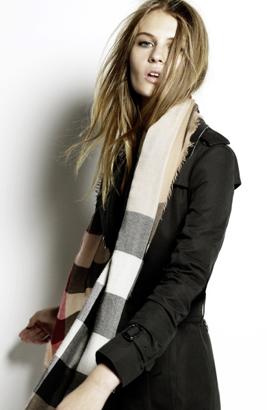 Burberry Scarf Styling - The Low Bow step one featuring Florence Kosky