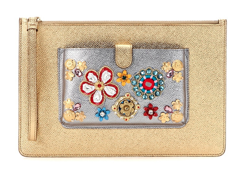 Dolce-Gabbana-Embellished-Metallic-Leather-Clutch