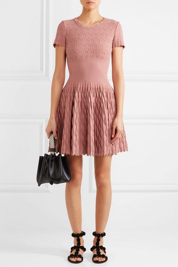 Alaia-Knitted-Mini-Dress-Rose