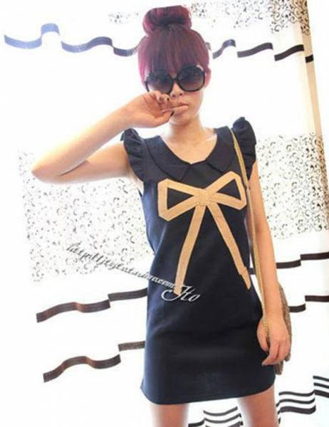2013-spring-summer-new-lady-korea-fashion-casual-sleeveless-bow-dress-Lady-dress-Free-Shipping-W1233