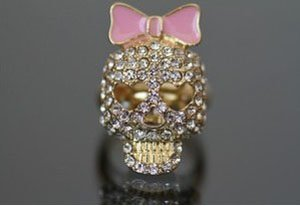 B-J-Logo-Skull-Rings-Enamel-Bow-Head-Crystals-Horror-Size-7-1-7CM-Fashion-Jewelry