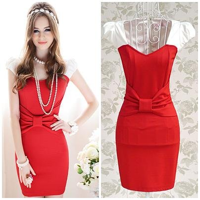 Free-shipping-red-patchwork-bow-sleeveless-sheath-knee-length-ladies-slim-mini-sexy-dress-new-fashion
