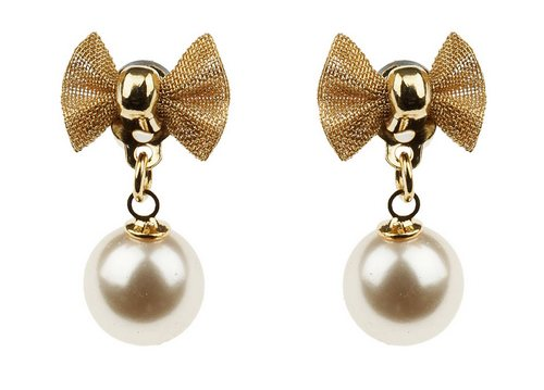 Gold bow drop earrings cr
