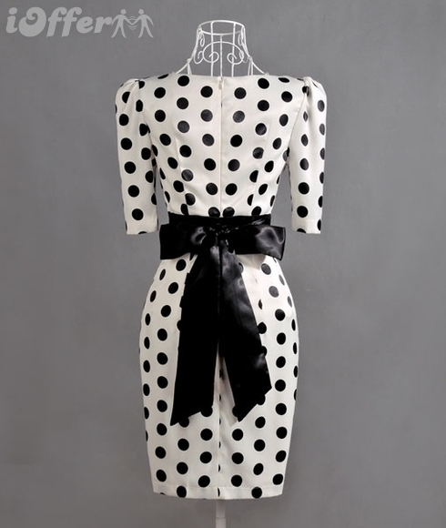 women-fashion-dress-slim-dot-bow-dress-pencil-skirt-89d4
