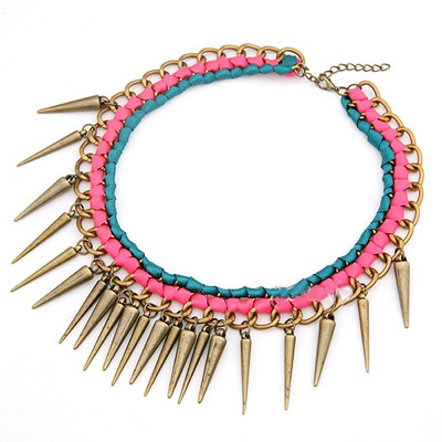 weave spike  necklace