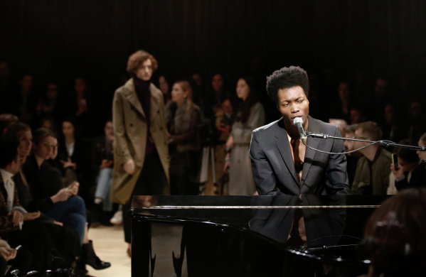 Benjamin Clementine wearing Burberry at the Burberry Menswear January 20