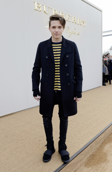Brooklyn Beckham wearing Burberry at the Burberry Menswear January 2016