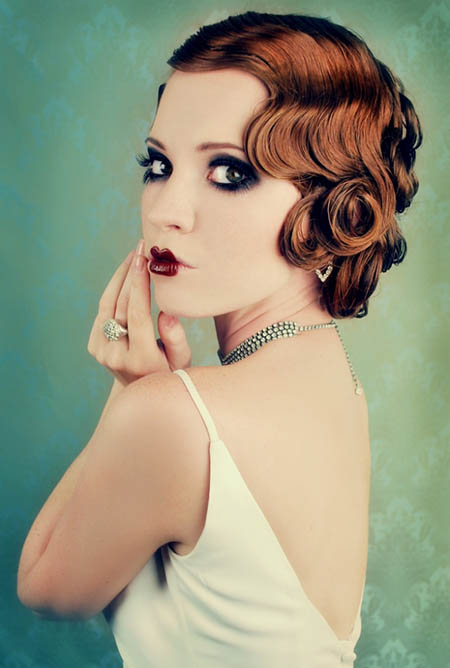 retro curly bridal updo hairstyle