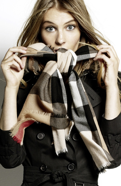 Burberry Scarf Styling - The Low Bow step three featuring Florence Kosky