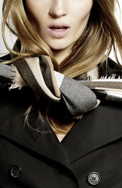 Burberry Scarf Styling - The Low Bow step two featuring Florence Kosky