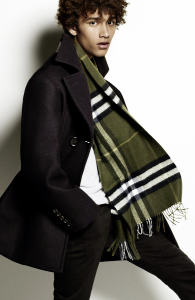 Burberry Scarf Styling - The Tuxedo Fold step one featuring Jackson Hale
