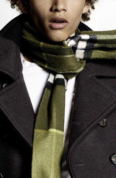 Burberry Scarf Styling - The Tuxedo Fold step three featuring Jackson Hale