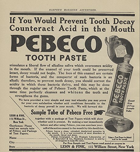 1909 Ad Lehn Fink Pebeco Toothpaste Prevent Tooth Decay